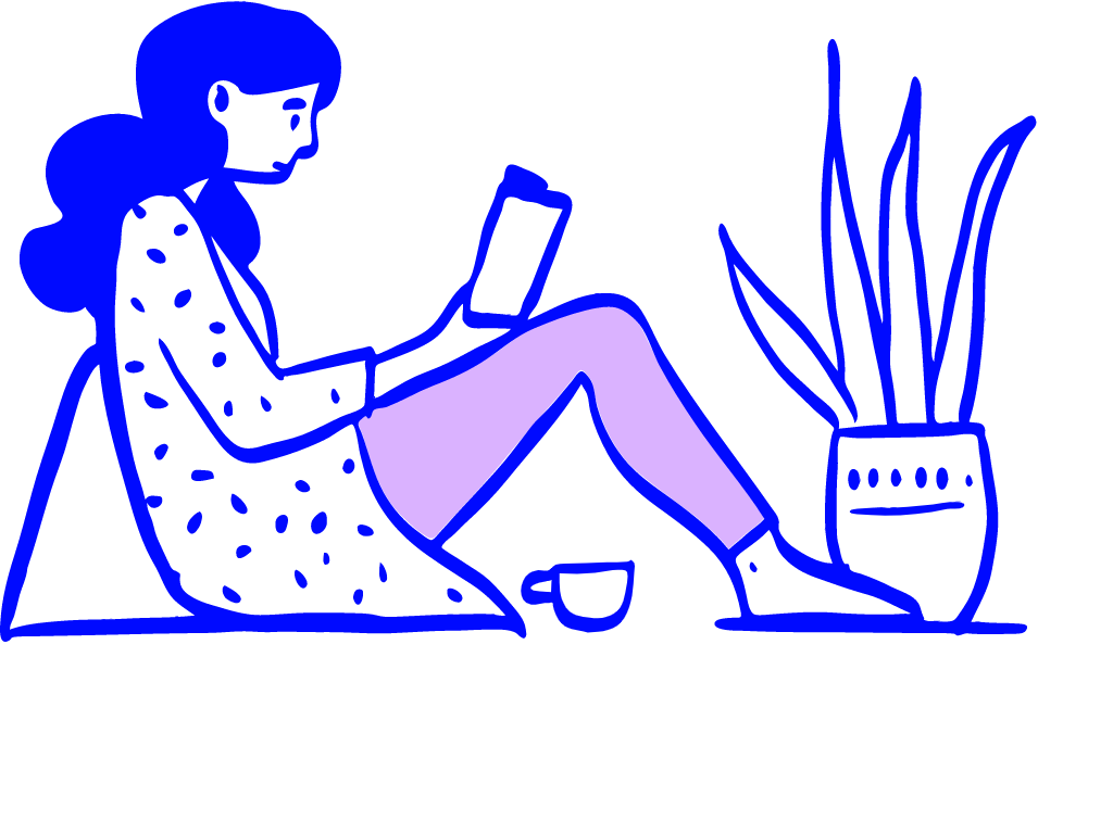 woman reading to learn no-code and create a mvp (illustration)